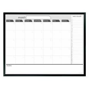 Board Dudes 3′ x 4′ Black Painted Framed Magnetic Dry Erase Calendar